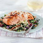 Grilling Recipe: Cedar Planked Salmon with Quinoa and Grilled Kale