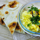 Butternut Squash & Cauliflower Curry with Naan and Creamy Coconut Rice