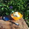 Orange Gelatin Recipe with Whipped Cream and Candied Ginger
