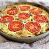 Sweet Potato Quiche with Caramelized Onion, Tomato, and Goat Cheese