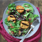 Fried Goat Cheese with Baby Greens, Bacon, + Balsamic