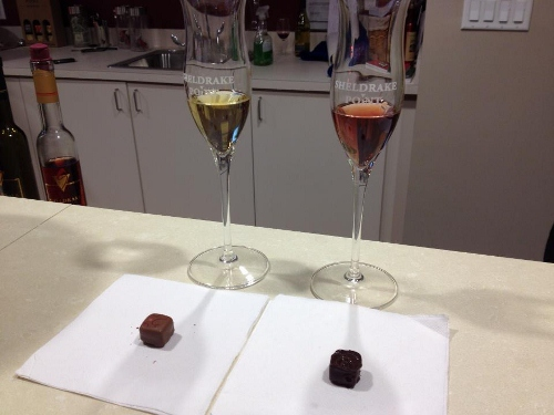 Ice Wine and Local Chocolate Pairing at Sheldrake Point 500x375 Wine Weekend Getaway: First Impressions of Finger Lakes, New York