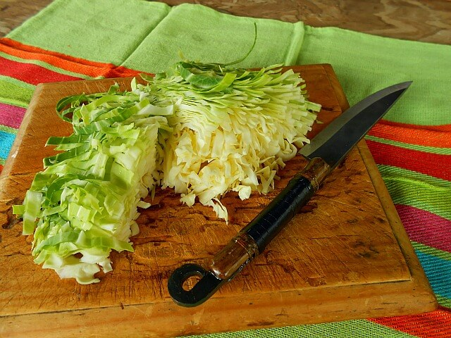 chopping cabbage for sauerkraut