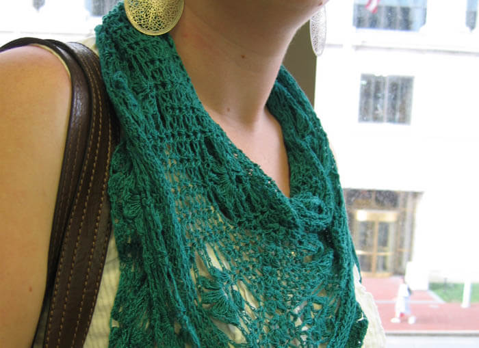 teal scarf Stitched from Head to Toe: Modern Day Crochet Trends