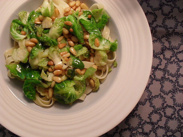 fettuccine with pine nuts