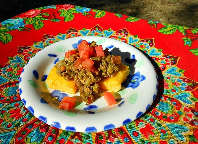 veggie tapenade on fried polenta
