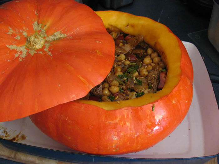 Pumpkin Stew Served in a Pumpkin