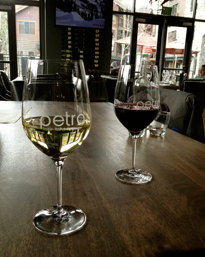 Wine flights at Petra Low Key California Luxury in Lake Tahoe
