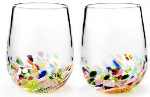 stemless confetti wine glasses