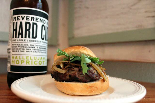 Lamb Slider with Blue Cheese and Reverend Nat's Hallelujah Hopricot