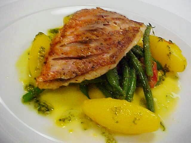 Red Snapper on a bed of Green Beans and Glazed Sweet Potatoes, with Saffron and Papaya Cream recipe