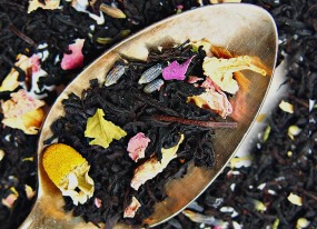 black cream tea with rose, chamomile, and lavender