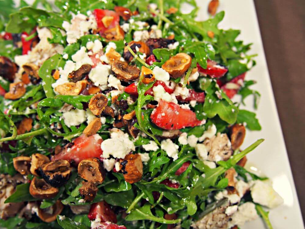 strawberry salad recipe with hazelnuts goat cheese honey chicken