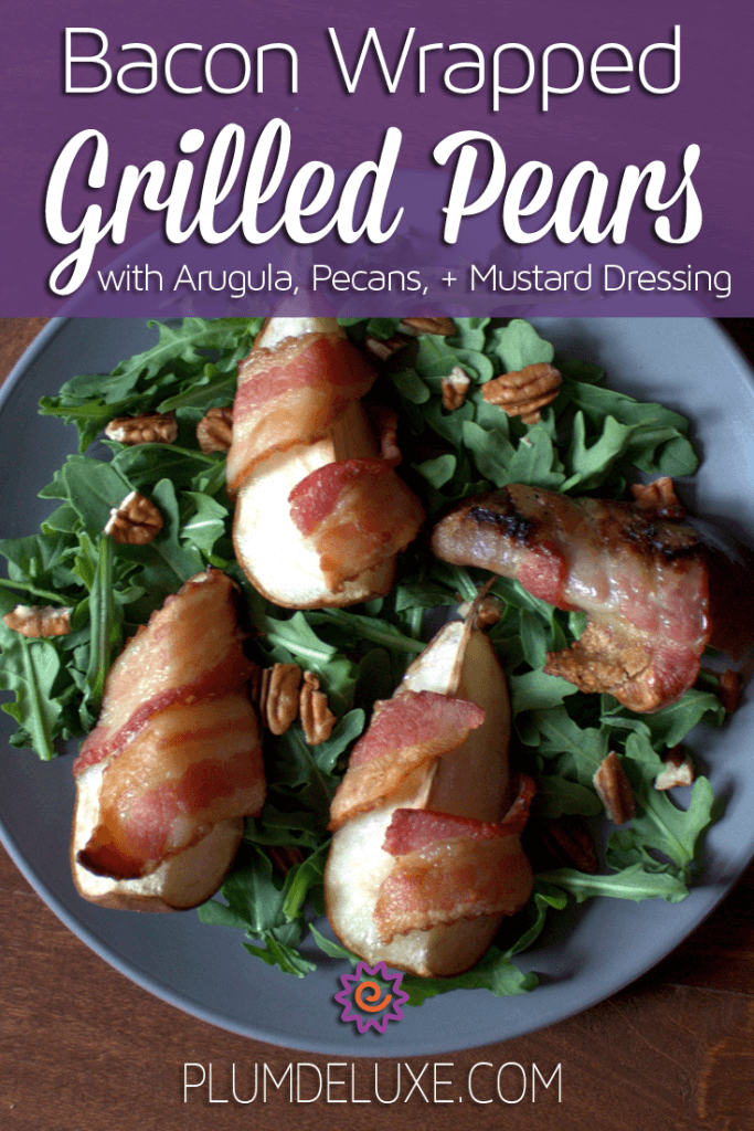 bacon wrapped grilled pears