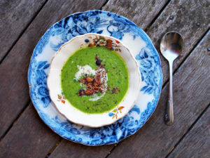 bright green curried pea soup in blue and white toile dishes