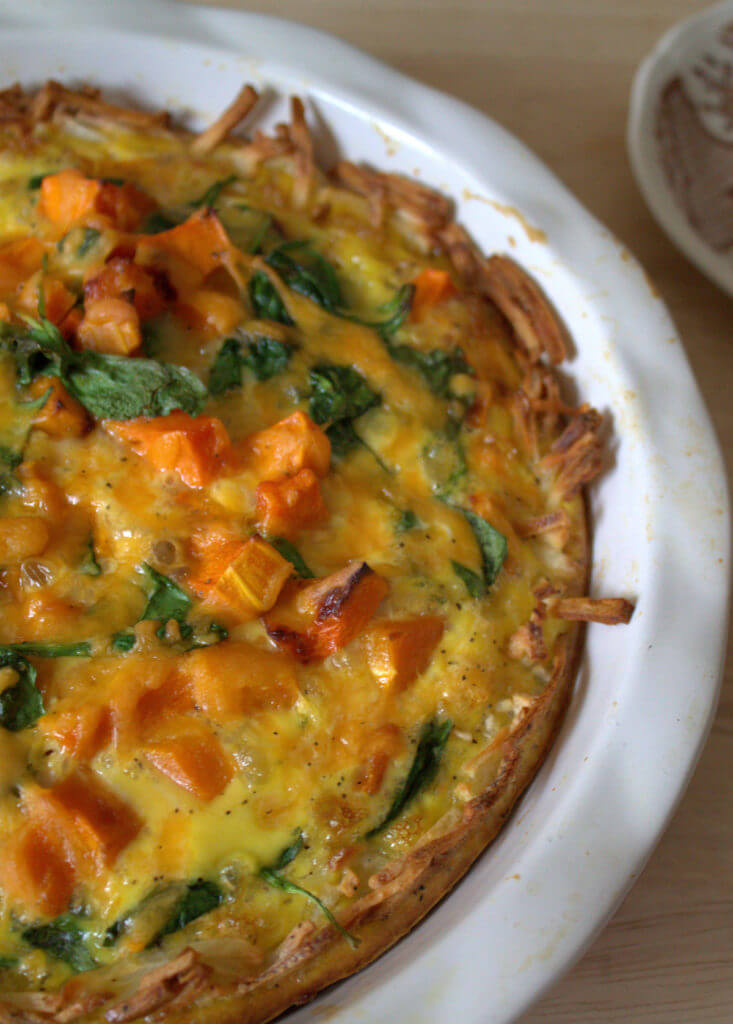 overhead view of a of squash quiche