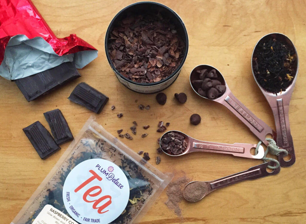 overhead view of tea with chocolate and cacao nibs