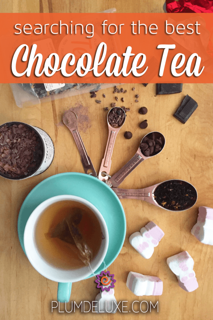 overhead view of tea in a blue teacup surrounded by various kinds of chocolate