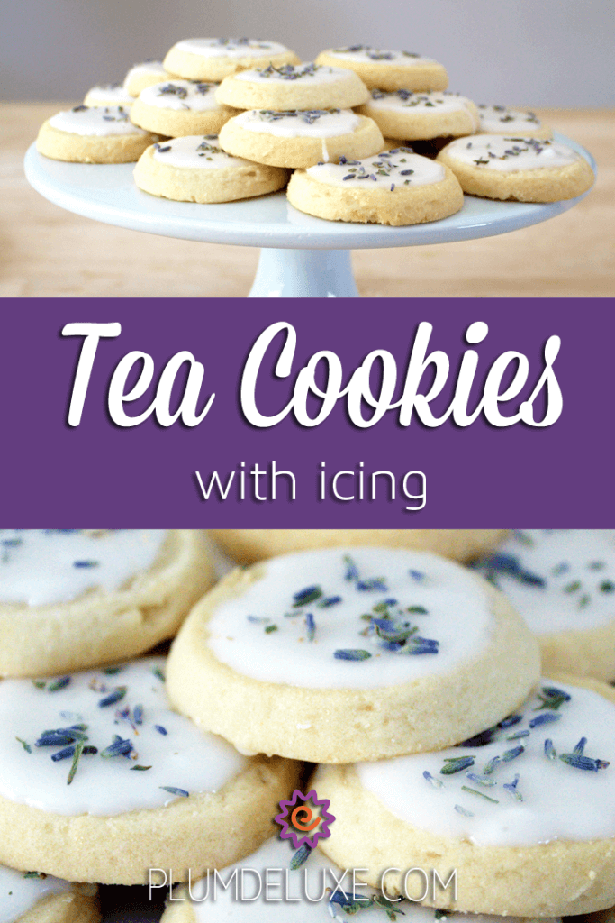 Above photo shows a plate of tea cookies with icing. Below photo shows closeup of tea cookies with icing sprinkled with lavender buds.