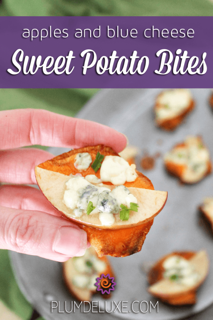 A hand holds an apples and blue cheese sweet potato bite.