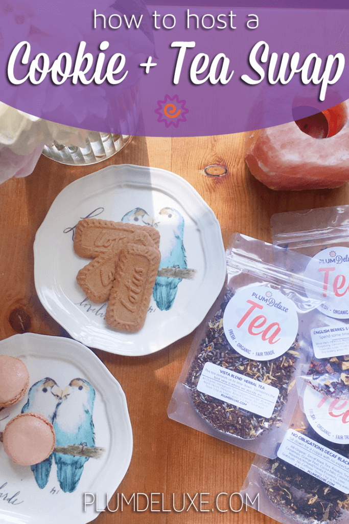 Overhead view of plates of cookies and bags of Plum Deluxe loose leaf tea.
