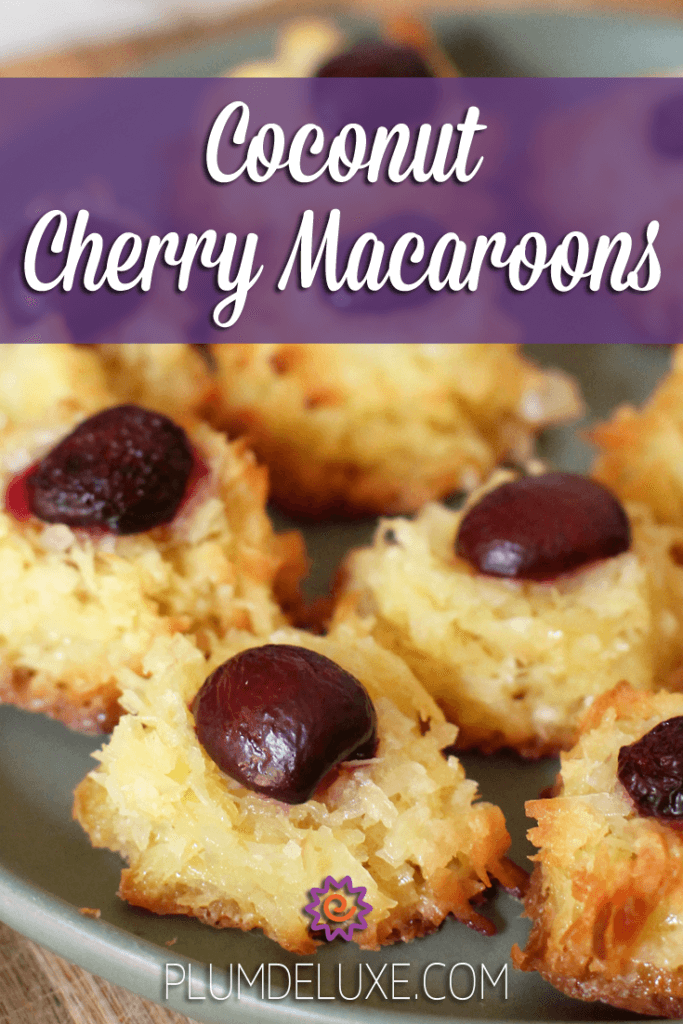 Closeup of a plate of coconut cherry macaroon cookies.