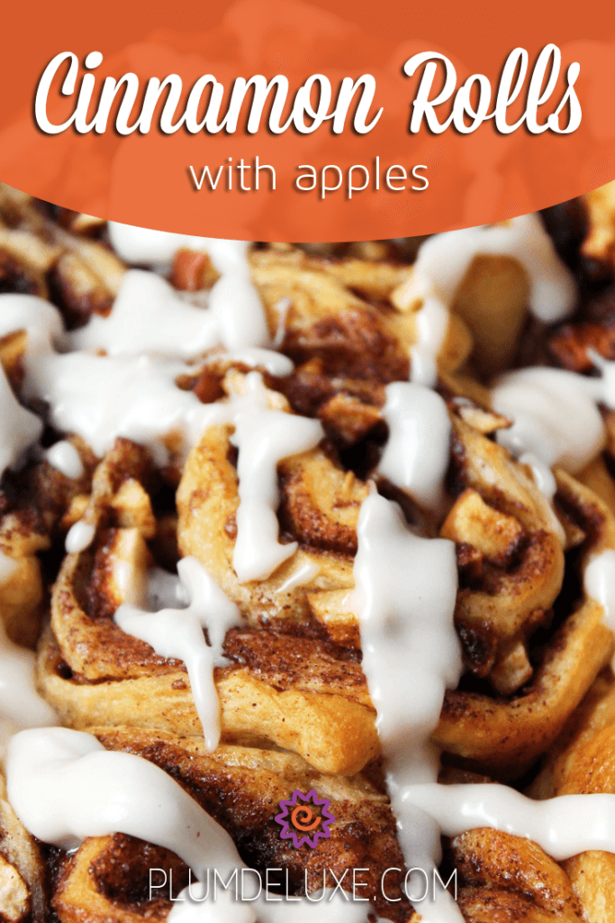 Closeup of a pan of apple cinnamon rolls with the overlayed words: Cinnamon Rolls with Apples Recipe