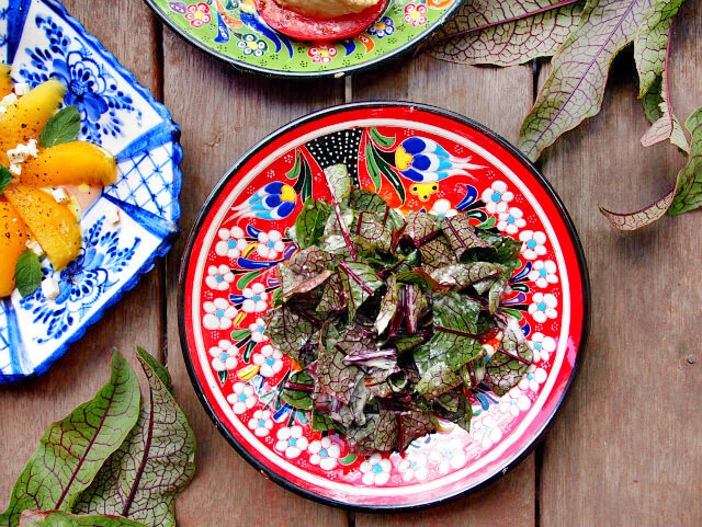 Overhead view of a sorrel Caesar tea party salad on a red floral plate.