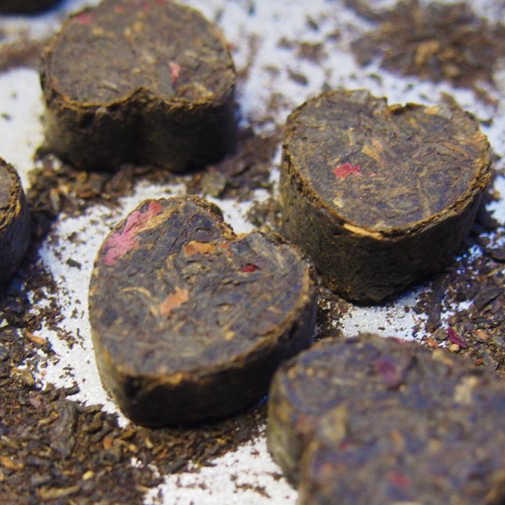 Closeup of vanilla rose puerh tuocha tea hearts.