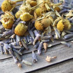 Closeup of lavender and chamomile buds on a wooden table.