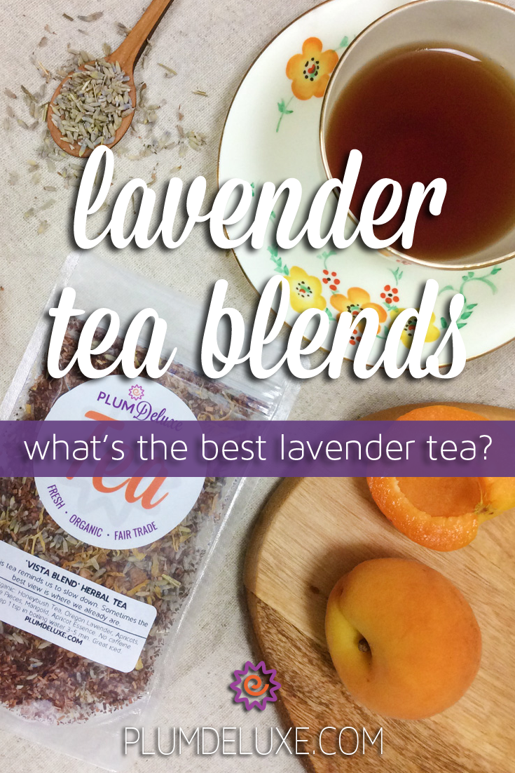 Overhead view of a cup of tea, a wooden spoon full of lavender, a wooden board with apricots, and a bag of loose leaf tea. The words say: lavender tea blends. what's the best lavender tea?