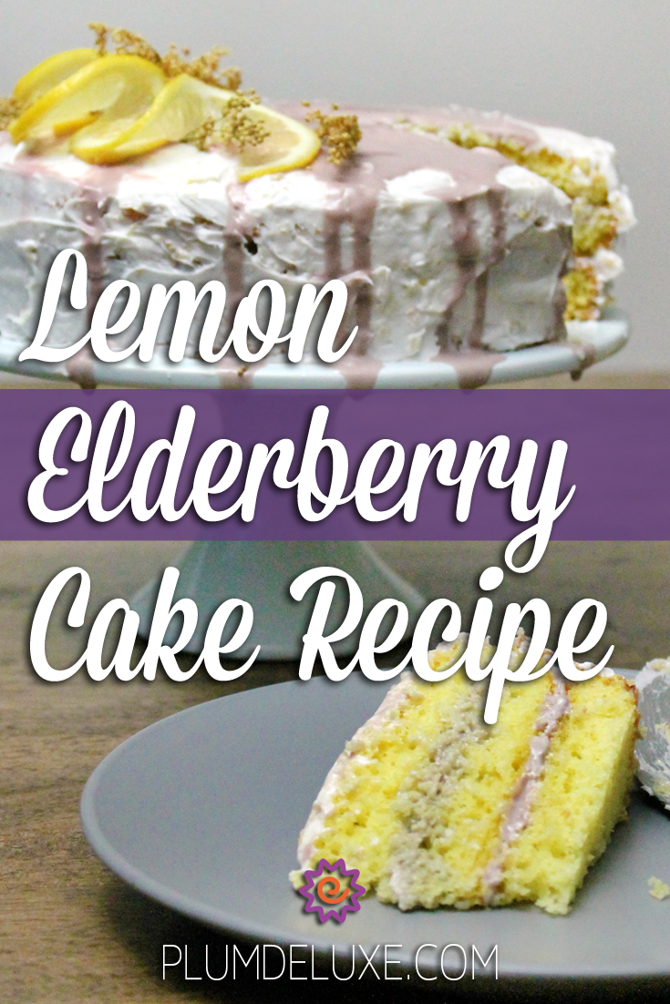 A lemon elderberry cake rest on a blue cake stand in the background with a slice of layered cake on a plate in the foreground. The words say: lemon elderberry cake recipe.