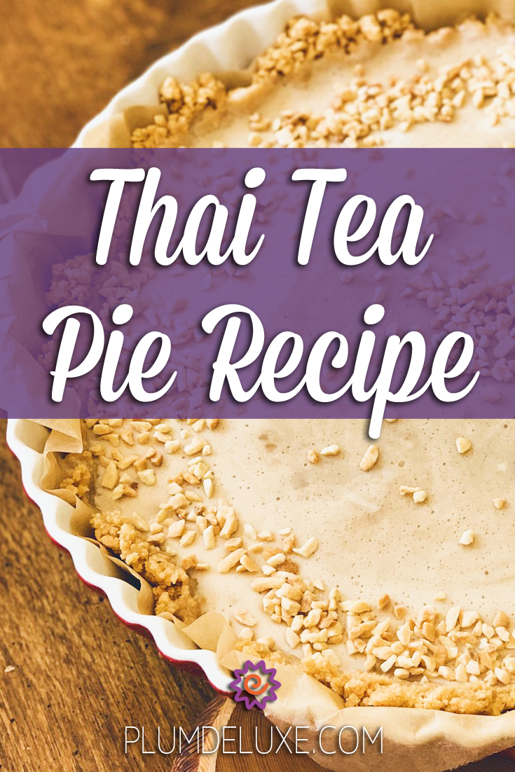 Closeup of a Thai tea pie sprinkled with crushed peanuts. The overlay text reads: Thai tea pie recipe.
