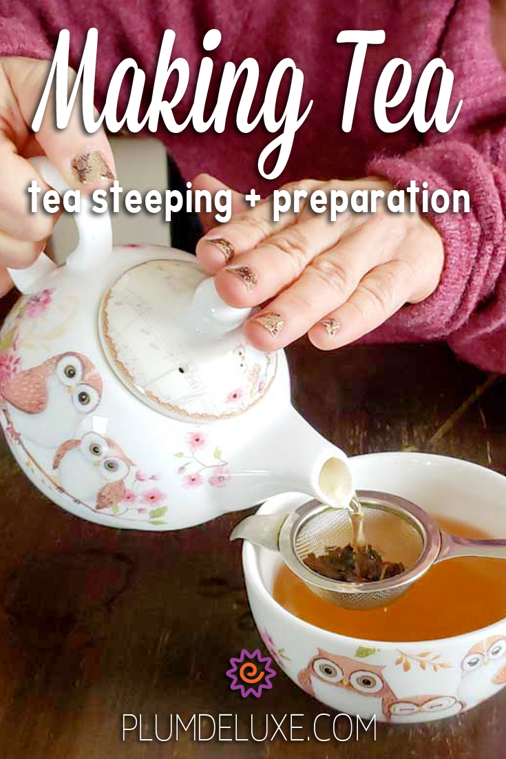 "A person in a rose colored sweater pours tea from a teapot with owls on it. The tea is poured through a metal tea strainer and into a matching teacup with owls. The overlay text reads ""Making Tea: tea steeping + preparation."""