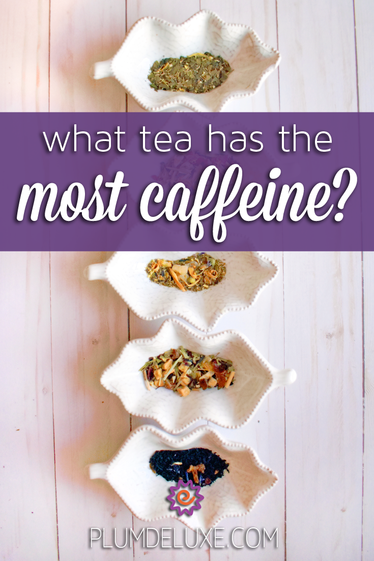 Overhead view of five leaf-shaped white dishes with different kinds of tea in them. They are in a vertical row on a light wood table. The overlay text reads: what tea has the most caffeine?