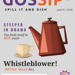 """A fake magazine cover for """"Gossip: Spill It and Dish"""" has a tea pot and teacup on the front with various tea pun headlines."""