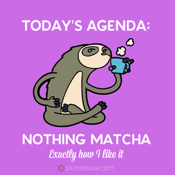 "A cartoon sloth sips tea on a bright pink background with the words ""Today's Agenda: Nothing Matcha. Exactly how I like it."" floating around it."