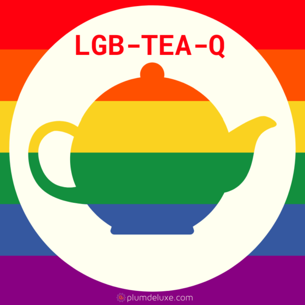 "A rainbow teapot is on a white circle on a rainbow background. Above it are the words ""LGB-TEA-Q."""