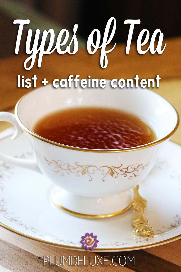 A white teacup and saucer set with a gold design sits on a wooden board. A gold teaspoon rests on the saucer. The overlay text reads: Types of Tea list + caffeine content.