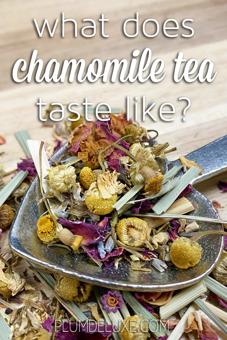 Closeup of a heart-shaped spoon full of chamomile, rose, and lemongrass tea. The overlay text reads: what does chamomile tea taste like?